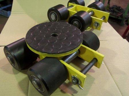 Wózek skrętny z otworem fi 21 w płycie nośnej, 4 rolkowy, rolki: 4x kompozyt (nośność: 4 T) 12267423